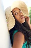 Beautiful african american woman with sun hat Royalty Free Stock Images