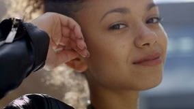 Beautiful african american woman in urban background. Close up portrait of african american woman, outdoors. Trendy and urban style/ casual clothes stock video