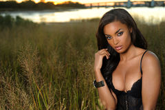 Beautiful African-American woman wearing black lingerie Royalty Free Stock Photos