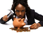 Beautiful African American Woman With A Piggybank Stock Photo