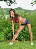Beautiful African American woman works out Stock Photo