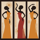 Beautiful African American women. Vector picture of African American woman. Triptych Royalty Free Stock Photo