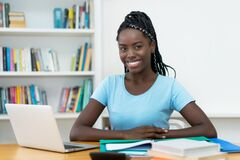 Free Beautiful African American Young Adult Female Student At Computer Stock Photography - 173991692