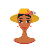 Beautiful African American young woman in stylish hat Retro portrait Royalty Free Stock Image