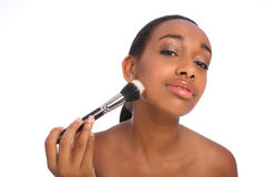 Beautiful African beautician make up powder brush Stock Images