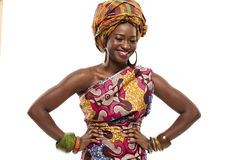 Beautiful African fashion model in traditional dress. Royalty Free Stock Image