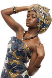 Beautiful African fashion model in traditional dress. Royalty Free Stock Images