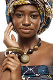 Beautiful African fashion model in traditional dress. Stock Photos