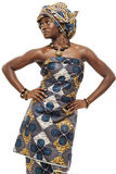 Beautiful African fashion model in traditional dress. Royalty Free Stock Photo