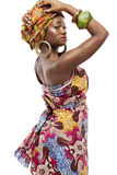 Beautiful African fashion model in traditional dress. Stock Images