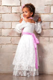 Beautiful african  girl as a little actress. Theatre, acting skills.  Royalty Free Stock Photo