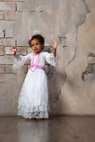 Beautiful african  girl as a little actress. Theatre, acting skills.  Royalty Free Stock Photos
