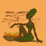Beautiful African girl with fruit basket. Illustration of beautiful African girl with fruit basket stock illustration