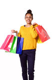 Beautiful african girl with shopping bags Stock Images