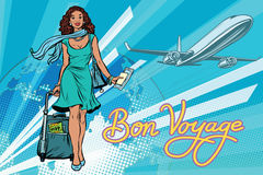 Beautiful African girl with a ticket for the flight vector illustration