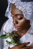 Beautiful african girl with veil hat Royalty Free Stock Photo