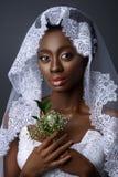Beautiful african girl with veil hat Stock Photos