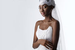 Beautiful african girl with veil hat Stock Photo