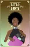 Beautiful african lady disco style with vinyl Royalty Free Stock Images