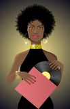 Beautiful african lady disco style with vinyl Royalty Free Stock Image