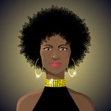 Beautiful african lady. Illustration of Beautiful african lady disco style with afro hairstyle made in CDR, with gradients and grouped vector illustration