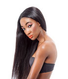 Beautiful African model with long hair Stock Photos