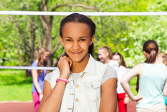 Beautiful African teen girl on the playground Royalty Free Stock Photos