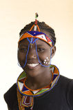 Beautiful african tribal Woman. African young woman in Zambia with for this tribe typical painted faces and garbs Royalty Free Stock Photography