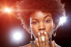 Beautiful African woman with afro hairstyle Stock Photos