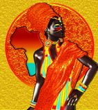 African Queen, Fashion Beauty. Beautiful African woman on colorful abstract background with silhouette of African continent. Our 3d models are perfect for your Stock Photos