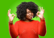 Beautiful african woman with curly hair royalty free stock photo