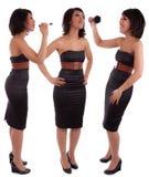 Beautiful african woman with elegant black dress Stock Photos