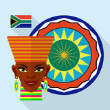 Beautiful African woman with ethnic ornament and flag. Africa flat design. Beautiful African woman with ethnic ornament and flag. Vector illustration Stock Photos