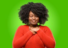 Beautiful african woman with curly hair royalty free stock photography