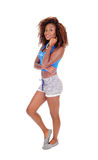 Beautiful African woman in shorts. Royalty Free Stock Photos