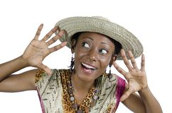 Beautiful African Woman Showing Hands and Smiling Stock Photo