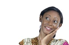 Beautiful African Woman smiling Hand on Cheek. Studio Shot, Cameroon Stock Image