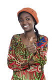 Beautiful African Woman Smiling Thumb Up Stock Photo