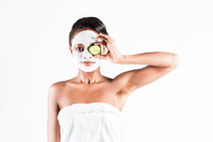 Beautiful African woman in Studio with facial mask Stock Photos