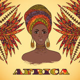 Beautiful African woman in turban and abstract palm leaves with ethnic geometric ornament. Hand drawn vector illustration. Design, card, print, poster stock illustration