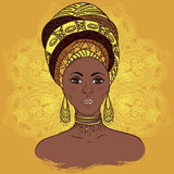 Beautiful African woman in turban over ornate mandala round pattern. Hand drawn vector illustration. Royalty Free Stock Photos