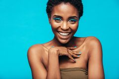 Beautiful african woman with vivid makeup Royalty Free Stock Images