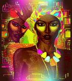 Beautiful African women. On colorful abstract background. Our 3d models are perfect for your work with diversity, beauty, fashion and more Royalty Free Stock Image