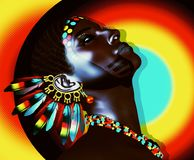 Beautiful African women on colorful abstract background. With feather earrings and accessories. Our 3d models are perfect for your work with diversity, beauty Royalty Free Stock Photos