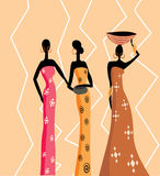 Beautiful african women. No transparency and gradients used royalty free illustration