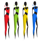 Beautiful african women. No transparency and gradients used stock illustration