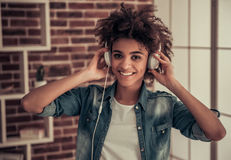 Beautiful Afro American girl at home Royalty Free Stock Photography