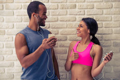 Beautiful Afro American sports couple Royalty Free Stock Photos