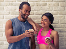 Beautiful Afro American sports couple Royalty Free Stock Image
