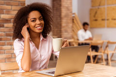 Beautiful Afro-American woman working Royalty Free Stock Photography